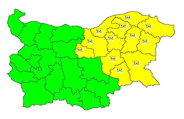 Жълт код за валежи във Велико Търново и още 11 области е обявен за днес